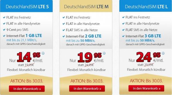 DeutschlandSIM (O2 Netz) LTE Tarife monatlich kündbar ab 12,95€