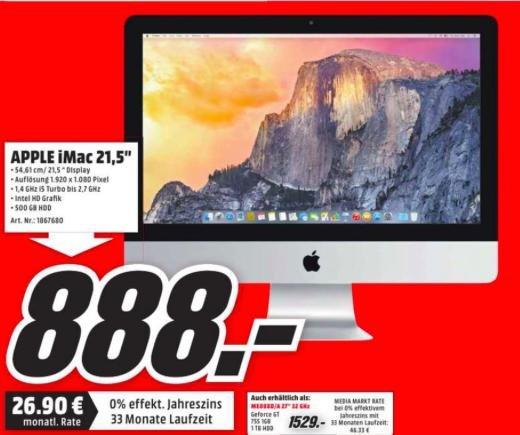 "[Media Markt Düsseldorf] Apple iMac 21,5"" (MF883D/A) für 888 EUR"