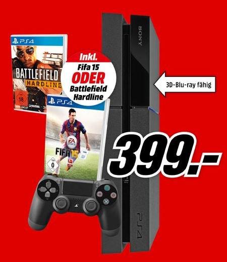 [Mediamarkt] Playstation 4 mit FIfa 15 oder Battlefield Hardline Bundle