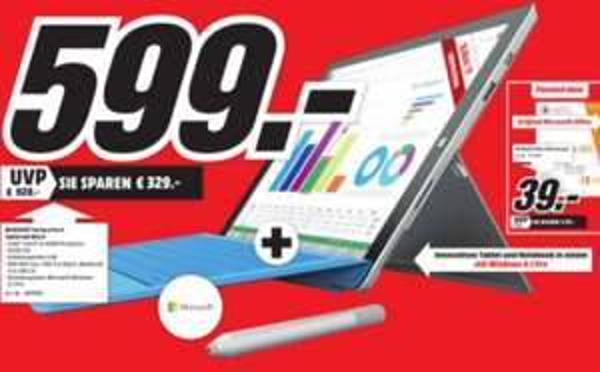[Lokal - Ludwigshafen] Surface 3 Pro - 64 GB - inkl. Tastatur - 599,--