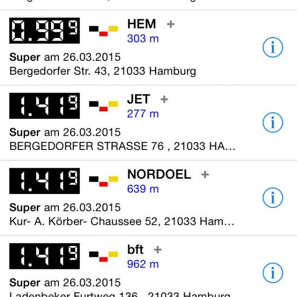 [lokal] Super für 99,9c pro Liter bei HEM, HH Bergedorf