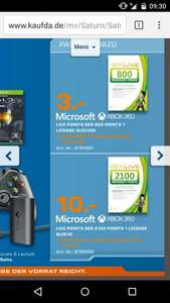 [Lokal]Microsoft XBox Live Guthaben 800 Points (9,60€) für 3€, 2100 Points (25,20€) für 10€ [Saturn Stuttgart & Esslingen]