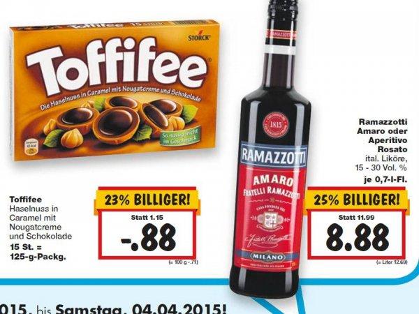 [KAUFLAND]  Super Weekend: TOFFIFEE 125 g  0,88 €,  RAMAZZOTTI 0,7l Amaro /Aperitivo 15-30% ab 8,44 €  (02.-04.04.)
