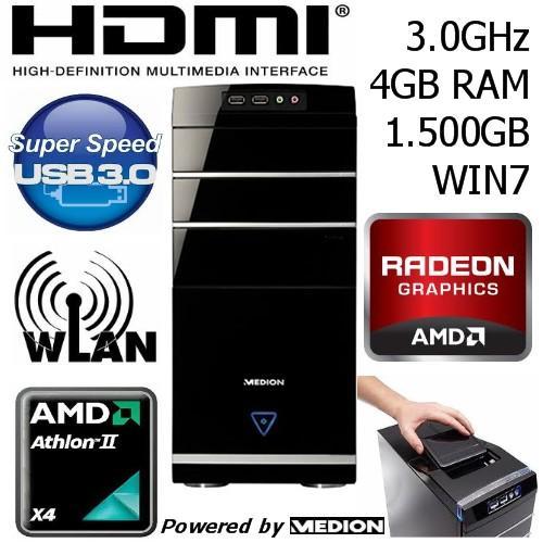 MEDION PC System P5302 AMD Athlon II X4 640 Quad-Core 3,0GHz 4 GB 1,5 TB W-LAN für 349,99€