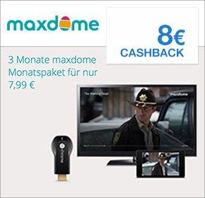 [Qipu] 3 Monate maxdome Monatspaket für 7,99 € + 8€ Cashback