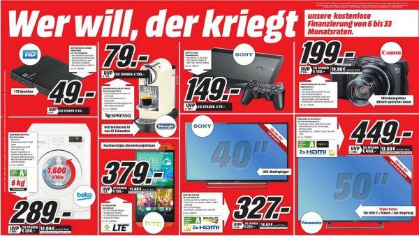 """[Lokal Media Markt Düsseldorf]  WD My Passport Ultra 2,5"""" 1 TB für 49,- / PS3-Konsole Super Slim für 149,- / Delonghi EN 166 für 79,- EUR und weiter Angebote."""