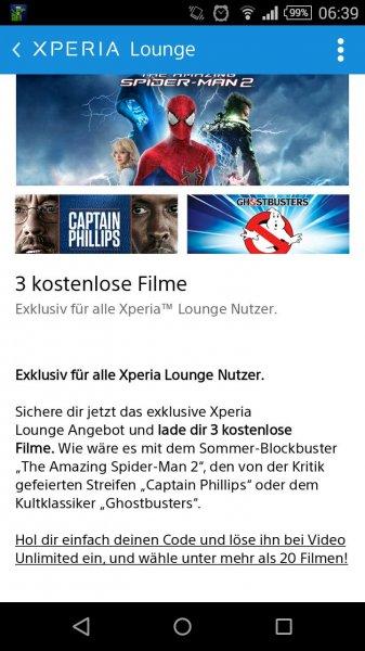 [Xperia Lounge] 3 Filme kostenlos