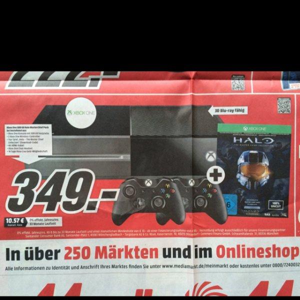 Xbox One mit 2 Controllern + Halo für 349€