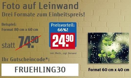 Foto-Leinwand in verschiedenen Größen bei Rewe-Fotoservice nur 24,90 + Versand (bis zu 67 % Rabatt)