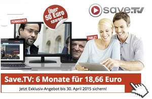 6 Monate Save.tv XL für 18,66€ - Online Videorecorder (inklusive Streaming)
