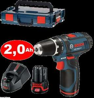 Bosch GSR 10,8-2-LI + 2*Akku 2Ah + Ladegerät AL 1130 + Holster in L-Boxx
