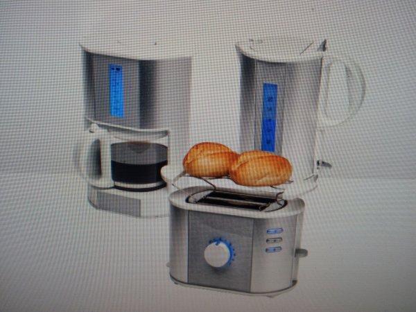 MEDION® ALUMINIUM FRÜHSTÜCKSSET, Bundle bestehend aus Kaffeemaschine, Wasserkocher und Toaster, im Aluminiumdesign