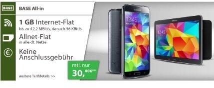 Base All in (1 GB) mit Samsung Galaxy S5 und Tab 4 10.1 Wifi nur 30,--/ Monat (ADAC 27,--/Monat)