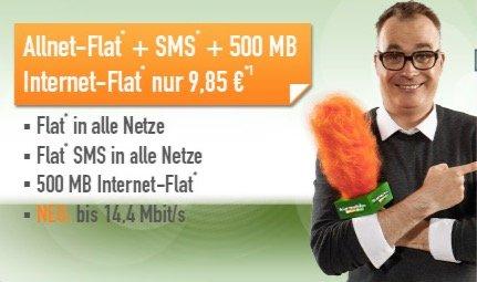 klarmobil Allnet-Flat im D-Netz + SMS Allnet + 500 MB Internet für 9,85 € / 1GB für 14,85 €