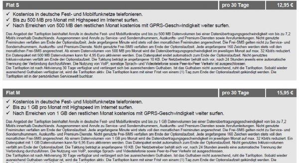 Prepaid Allnet Flat für 12,95 / 15,95 € monatlich (o2)