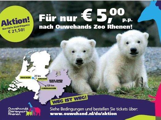 Ouwehands Zoo (NL): 5,00 statt 21,50 EUR Eintritt