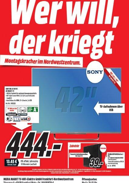 SONY KDL 42 W 815 für 444 Euro Media Markt Nordwestzentrum