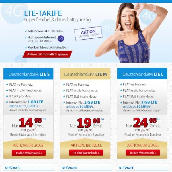 DeutschlandSim LTE Tarife ab 14,95 Euro