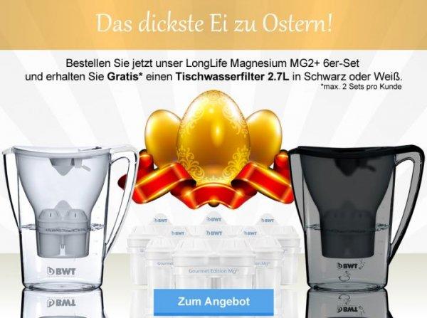 BWT Wasserfilter 6er-Set LongLife & Tischwasserfilter 2,7 Liter (umsonst) + Gutschein