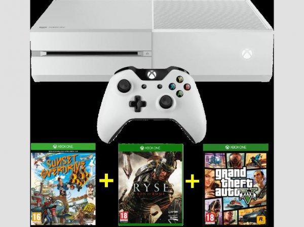 MICROSOFT Xbox One Bundle 500 GB weiß inkl. Sunset Overdrive (DLC) + Ryse + Gta V @Saturn.at
