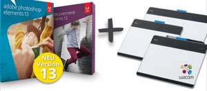 Adobe Photoshop & Premiere Elements 13 inkl. Wacom Intuos Pen Grafiktablett für 72,90€ (idealo: Adobe 79,90€ + Tablet 57,55€)