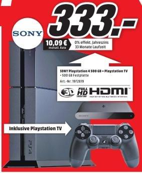 [Mediamarkt Aachen, Eschweiler und Herzogenrath 29.03] Playstation 4 + Playstation TV für 333€