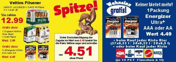 K+K     1 Kiste Veltins Pilsener für 16,57€ inklusive Pfand mit zugaben im Wert von 8,48 €