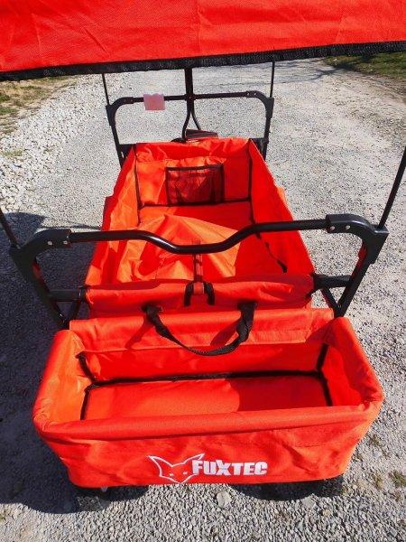 Fuxtec JW76A Orange/Rot Bollerwagen mit Sonnendach, @notebooksbilliger de