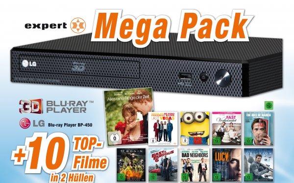 LG BP-450 3D Blu-Ray Player + 10 Blu-Rays (u.A. Lucy, Oblivion und Ich einfach unverbesserlich) für 99,- lokal bzw. 103,99 online bei Expert Klein