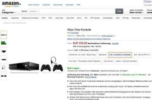 Xbox One inkl. 2 Wireless Controller - 329€ Amazon