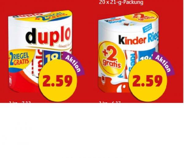 Penny: Kinder Riegel 18 + 2 und Duplo 18 + 2 für je 2,59 Euro