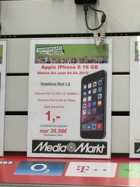 [Media-Markt Castrop-Rauxel] Apple iPhone 6 16GB mit Vodafobe RED 1,5