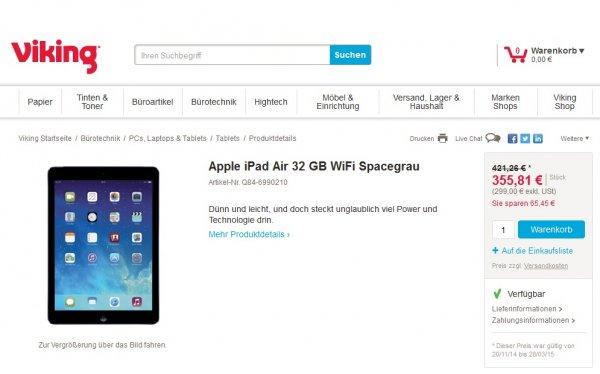 Apple iPad Air 32 GB WiFi Spacegrau 358,13€