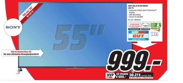 [Lokal Mediamarkt Porta Westfalica]SONY KDL55W955 TVC 55 LED FHD 3D SMART 400HZ SAT für 999,-€