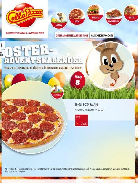 Call a Pizza Oster Adventskalender - heute Single Pizza Salami 2€ anstelle 6,9€ - online / offline