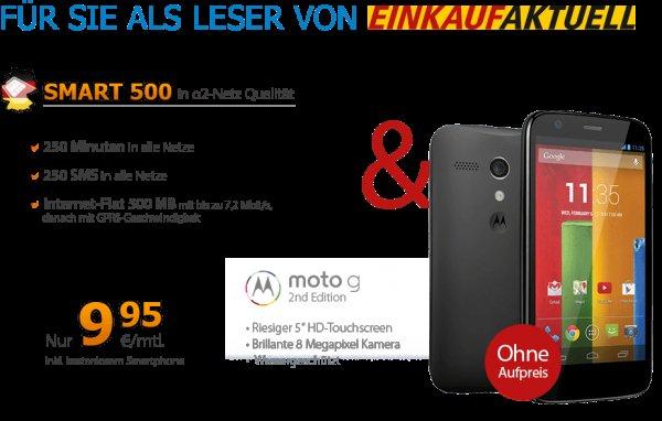 Moto g (2nd Edition) + Smart 500 Tarif (250 SMS/Min+500MB) für 9,95€ mtl [Deutschlandsim]