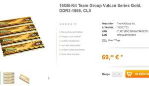 16 GB (4*4GB) DDR3 Ram Team Group Vulcan Series Gold, DDR3-1866, CL9 Anobo 74,89