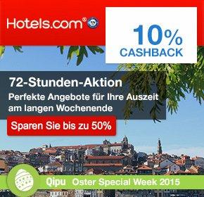 72 Stunden Aktion auf Hotels.com - bis zu 50% Rabatt + 10% Cashback