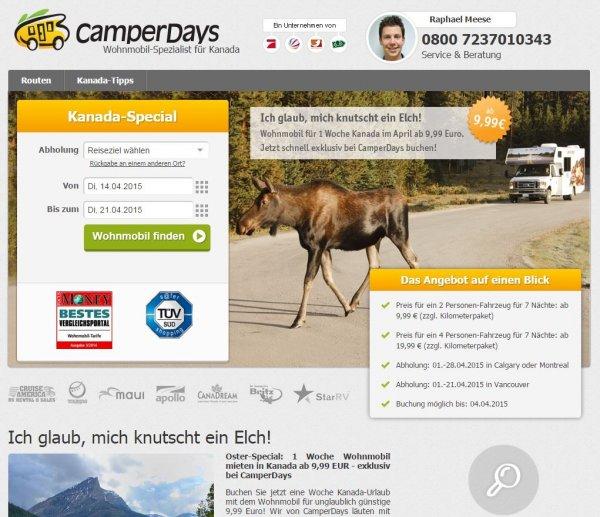Wohnmobile in Kanada ab 9,99 € pro Woche bei CamperDays