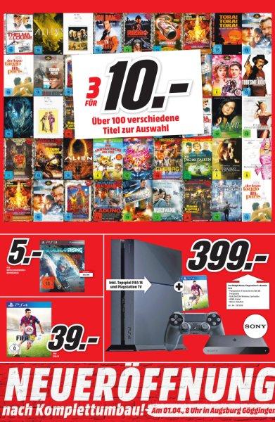[lokal Augsburg] Playstation 4 + Playstation TV + Fifa 15 für 399€ (mit etwas Glück effektiv nur 199,50€ - Chance 1:10)