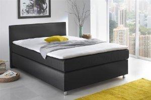 [XXXL] Boxspringbett in Textil, Farbe: schwarz - Komforthöhe von ca. 57 cm