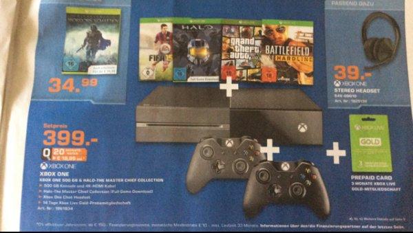 Günstiges XBOX One Bundle , HALO, Hardline, GTA, Fifa 15 + zweiter Controller und 3 Monate XBox Live