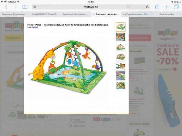 (Mytoys Neukunden) mattel k4562 Fisher-Price rainforest deluxe activity krabbeldecke mit Spielbogen für 36€ inkl. Versand