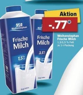 [Lidl/Bundesweit] Weihenstephan - Frische Milch (1,5% oder 3,5%) 1L für 0,77€ ab 07.04.2015
