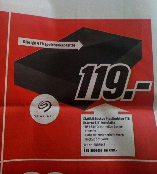[Media Markt - lokal] SEAGATE Backup Plus Desktop Festplatte 4 TB USB 3.0