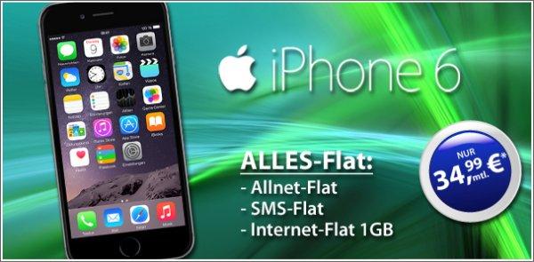 Apple iPhone 6 + Allnet + SMS + 1Gb Internet Flat nur 34,99€ im Monat (839,76€ in 2 Jahren)