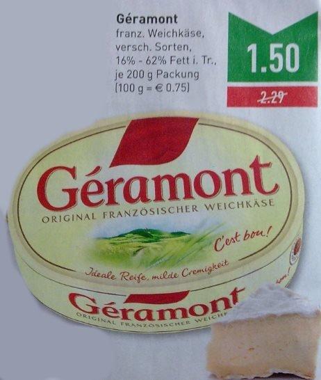 [Marktkauf Rhein-Ruhr] Géramont franz. Weichkäse 200g. div. Sorten, 1,50€ mit Coupon 1€