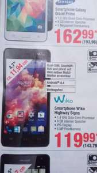 Wiko Highway Signs 142 € @Metro