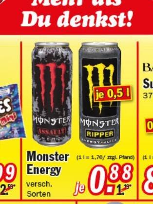 [Diverse Märkte] MONSTER ENERGY versch. Sorten 0,5L ab 0,88€