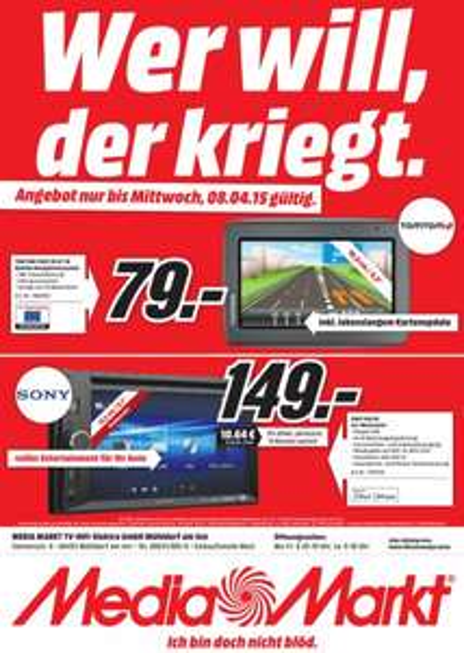 [lokal Mühldorf am Inn] Sony XAV-65 Car Moniceiver für 149€ / TOMTOM Start 20 M Central Europe mit FREE Lifetime Maps für 79€